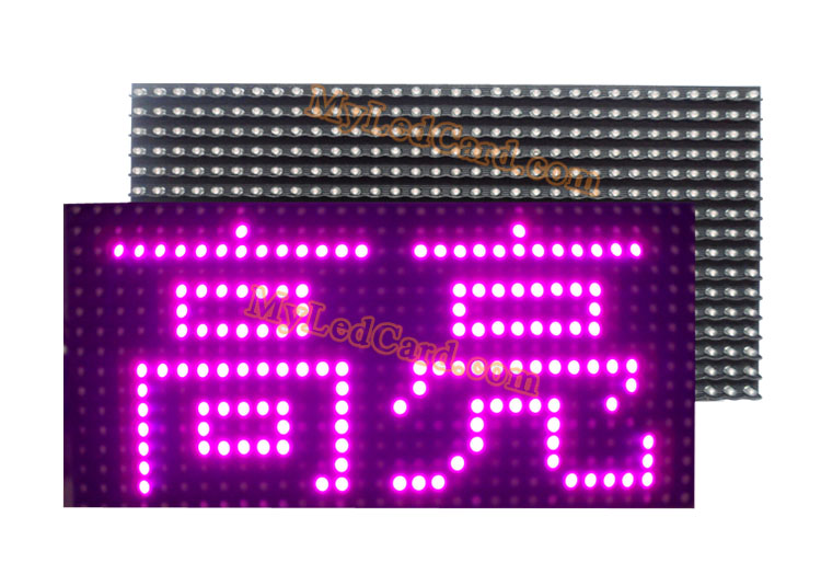 P10 Semi Outdoor High Brightness Purple Color LED Sign Module 320*160mm